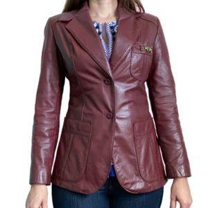 Vintage 70s Etienne Aigner burgundy leather jacket